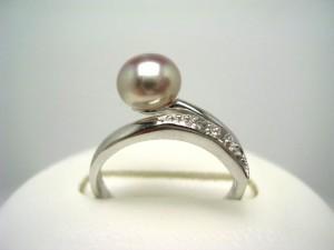 真珠 パール 淡水真珠 フリーサイズ リング 真珠リング パールリング 6.5-7.0mm シルバー ジルコン 56675