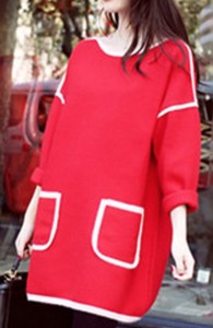 【即納】大きいサイズ ワンピース チュニック 長袖 ゆったり ポケット付き バイカラー 可愛い 通勤