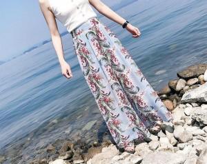 夏の花柄シフォン☆オシャレなワイドレッグパンツ