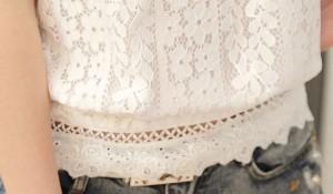 トップス ブラウス レース 半袖 ダブルフリル ラウンドネック 肌すけ デート 上品 レディース 大きいサイズ #1821