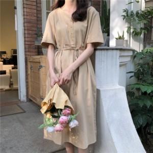 レディース ワンピース 人気 無地 シンプル マキシ丈 春夏 半袖 体系カバー フリーサイズ 1894