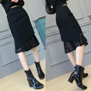 ニット レース デザインスカート アシンメトリー フリーサイズ ブラック ミディアム丈 #0680