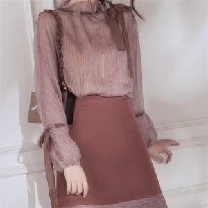 春秋 クラシカル レトロ可愛い パステルカラー ベイクドピンク 裾ディテール 上品華やか フォーマルにも 台形 ミニスカート