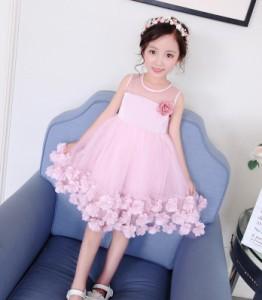 2f251a301a9e6 F 夏 韓国風 子供服 女の子 ノースリーブ お姫様 ドレス 女児 薄手 チュールスカート 花柄