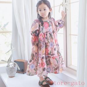韓国子供服 女の子ワンピース ワンピースドレス  ハイウエスト リボンレベル チュチュ ワンピース 春着 花柄ワンピース 長袖花柄ワンピー