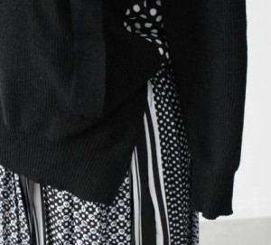ニットとドット柄のプリーツスカートのドッキングワンピース♪ 春 トレンド ミモレ丈 ロング【送料無料♪】