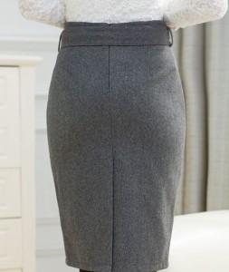 ベルト付き★ハイウエストペンシルスカート無地 3色 膝丈 シンプル【送料無料♪】