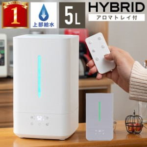上部給水 ハイブリッド加湿器 次亜塩素酸水 対応 省エネ 静音 5L アロマ対応 上から給水 加湿器 ハイブリッド LEDライト付き 卓上 大容量