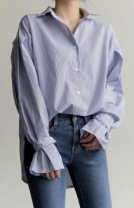 シャツ 大きいサイズ ピンストライプ シャツカラー パフスリーブ 清楚 上品 オフィス オフィスカジュアル ビジネス 通勤 OL
