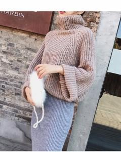 レディースファッション 女性 トップス セーター スタンドカラー ニット プルオーバー  厚手 無地 タートルネック