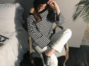 肩見せボーダーシャツでゆるコーデ☆春トレンド