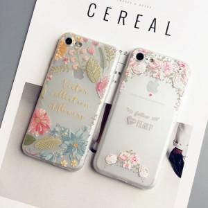 iphone8 plus ケース iphone7 plus ケース アイフォン8 プラス TPU透明ケース ソフト シリカゲル 3D浮き彫り 花柄 ストラップ付き