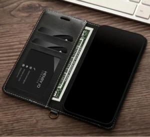 iPhone XS ケース iPhone X ケース アイフォンX カバー スマホケース 保護カバー 手帳型 カード収納 ソフト ストラップ付き デニム柄風