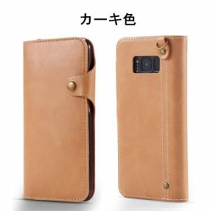 Galaxy S8+ ケース ギャラクシー S8 プラスケース S8 plus  SC-03J/SCV35 手帳型 収納あり ストラップ付き ボタン