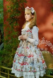 f8ececc4cfa2a ロリータドレス lolita ロリィタ ロリータ Milu Forest Antique scissorsホワイトジャンパースカート ジャンスカのみ  リボン 姫