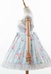 5151ff52c6c15 ロリータワンピース ロリータドレス lolita ロリィタ ハートうさぎのジャンパースカート ジャンスカとヘッドドレス付き アリス 甘ロリ