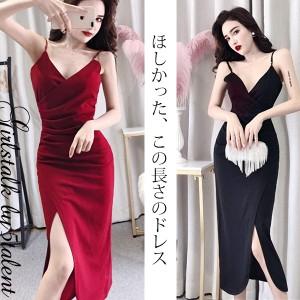 2514b93e49496 ミモレ丈のセクシーワンピース☆シンプルに着られる着痩せ系アシンメトリードレス♪キャミ