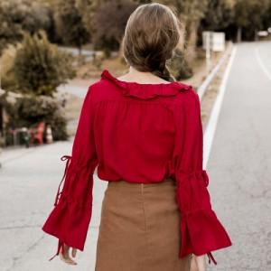 リボンが可愛いフレア袖◆ガーリーなシフォンシャツ【0099】