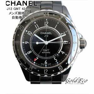 44ec461bcfe5 【中古】CHANEL シャネル J12 GMT 42mm メンズ腕時計 AT オートマ ブラック セラミック ブラック文字