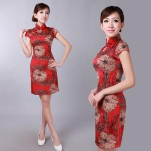 赤 ショート丈  ミニ セクシー チャイナドレス  レディース ワンピース コスプレ コスチューム ファッション 衣装