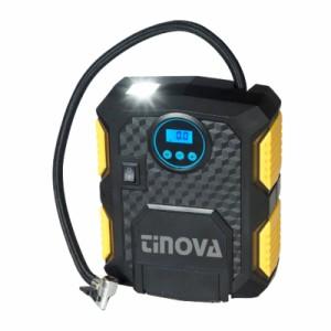 Tinovaコンプレッサー 車DC12V シガーソケット 3種類ノズル付き デジタル表示 LEDライト照明付き 自転車 バイク タイヤ 浮き輪 ボール