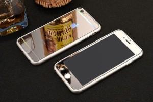 iPhone5/6/6s/7/8 アルミバンパーケース 鏡面強化ガラスフィルム 全面保護 9h フルカバー 全面強化ガラス
