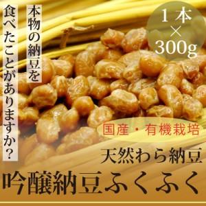 本物の天然わら納豆 吟醸納豆ふくふく300g×1本 栃木県産・有機大豆使用 放射性物質検査済 なっとう