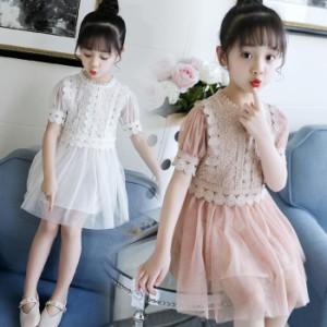 2018 韓国風 韓国子供服 女の子 夏物 半袖 ワンピース リボン ワンピース 女児 キッズ 子ども フローラル ドレス