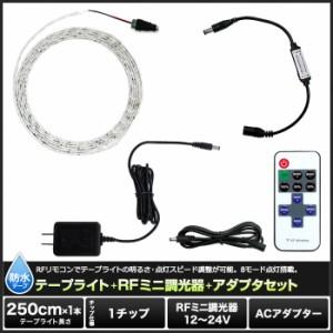 【1チップ(白ベース)250cm×1本セット】 RFミニ調光器+ 100Vアダプター+防水LEDテープライト
