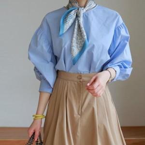 ブラウス レディース 韓国製 長袖 無地 バールン とろみ ミセス 30代 40代 50代 ファッション チュニック 2L 13号 シャツ 大きいサイズ