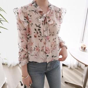 ブラウス レディース 韓国製 長袖 花柄 シフォン とろみ ミセス 30代 40代 50代 ファッション チュニック 2L 13号 シャツ 大きいサイズ