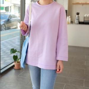 Tシャツ レディース 韓国製 長袖 無地 ドルマン チュニック 30代 40代 プルオーバ カットソー 大きいサイズ シフォン ロング ミセス