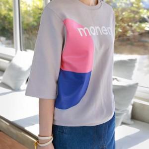 Tシャツ レディース 韓国製 7分袖 プリント 綿 チュニック 30代 40代 プルオーバ カットソー 大きいサイズ シフォン ロング ミセス