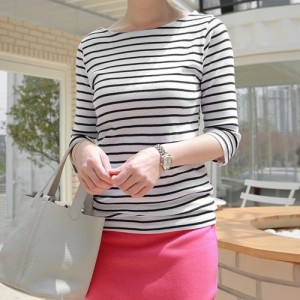 Tシャツ レディース 韓国製 7分袖 ボーダ柄 綿 チュニック 30代 40代 プルオーバ カットソー 大きいサイズ シフォン ロング ミセス