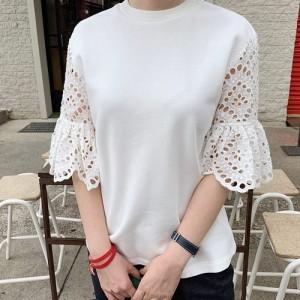 Tシャツ レディース 7分袖 無地 レース 綿 チュニック 30代 40代 プルオーバ カットソー 大きいサイズ シフォン ロング ミセス