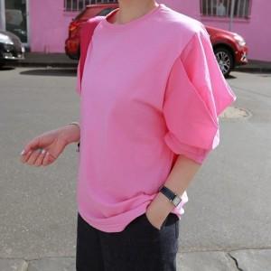Tシャツ レディース 韓国製 7分袖 無地 パフ 綿 チュニック 30代 40代 プルオーバ カットソー 大きいサイズ シフォン ロング ミセス