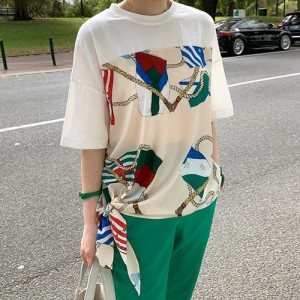 Tシャツ レディース 韓国製 半袖 プリント 綿 チュニック 30代 40代 プルオーバ カットソー 大きいサイズ シフォン ロング ミセス