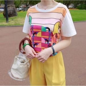 Tシャツ レディース 韓国製 半袖 プリント シルク 綿 チュニック 30代 40代 プルオーバ カットソー 大きいサイズ シフォン ロング ミセス
