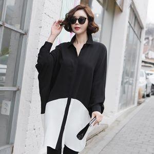 チュニック レディース 『韓国製』 長袖 無地 配色 シャツ とろみ ミセス 30代 40代 50代 ファッション 2L 13号 大きいサイズ