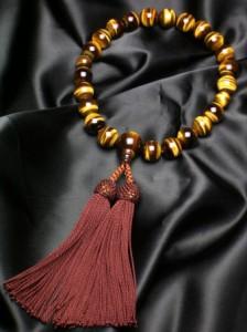 数珠 特上虎目石22珠共仕立正絹頭房(こげ茶) (特上品)各宗派 男性用数珠 念珠