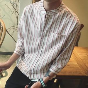 3d402021a4716c カジュアルシャツ/メンズ/ストライプ/7分袖 /ドレッシーシャツ/シンプル/. wecttt2332