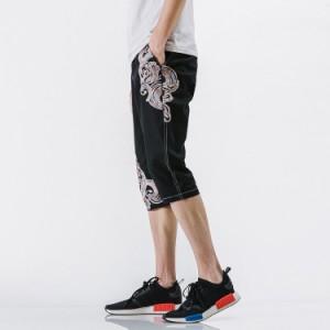 刺繍 ショートパンツ エスニック風 オリエンタル風 ハーフパンツ イージーパンツ チャイナ風 サルエルパンツ 5分丈 リラックス