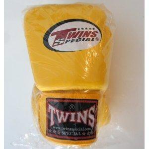 新TWINS ツインズ 本革製 キックボクシング グローブ 黄 14オンス