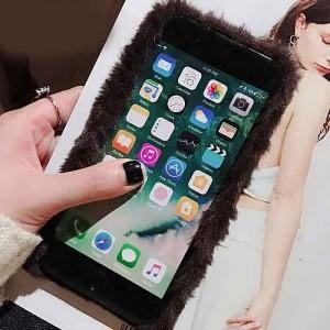 ファー&フラミンゴiPhoneケース   iPhone6 iPhone6Plus iPhone7 iPhone7Plus iPhone8 iPhone8Plus iPhoneX 対応