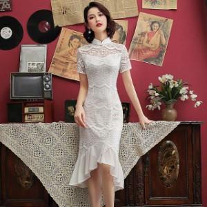 チャイナドレス 白 ホワイト レースドレス 立ち襟 半袖 着痩せ マーメイドドレス フレア お洒落 パーティー 二次会ドレス お呼ばれ