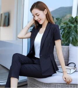 フォーマル スーツ レディース ストライブ 通勤 ビジネススーツ 作業服 オフィス パンツスーツ スカートスーツ 半袖 2点セット