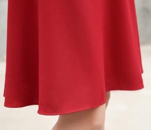 デート お出かけ ワンピース レッド ハイウエスト 膝丈ワンピース 2018夏 新作 レディース 半袖 ドレス おしゃれ Aライン