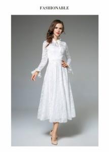 レース花柄 セクシー ロング 長袖 スカート ワンピース ファッション ゆったりラッパの袖 修身 Aライン ワンピース 20-40代
