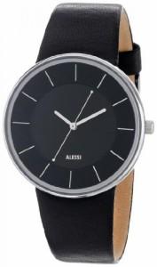 """""""〇〇(メンズ腕時計。) Alessi Men's AL8004 Stainless Steel Automatic Watch with Black Leather Strap 正規輸入品"""""""