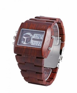 """""""〇〇(メンズ腕時計。) Mercimall Dual Analog and Digital Watch Red Sandal Wood Watch with Wooden Band Lightweight Bamboo Watch """""""